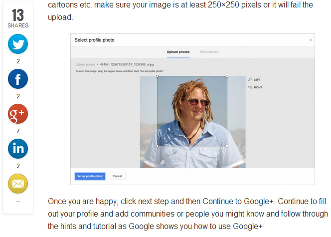 Allows users to easily share your content