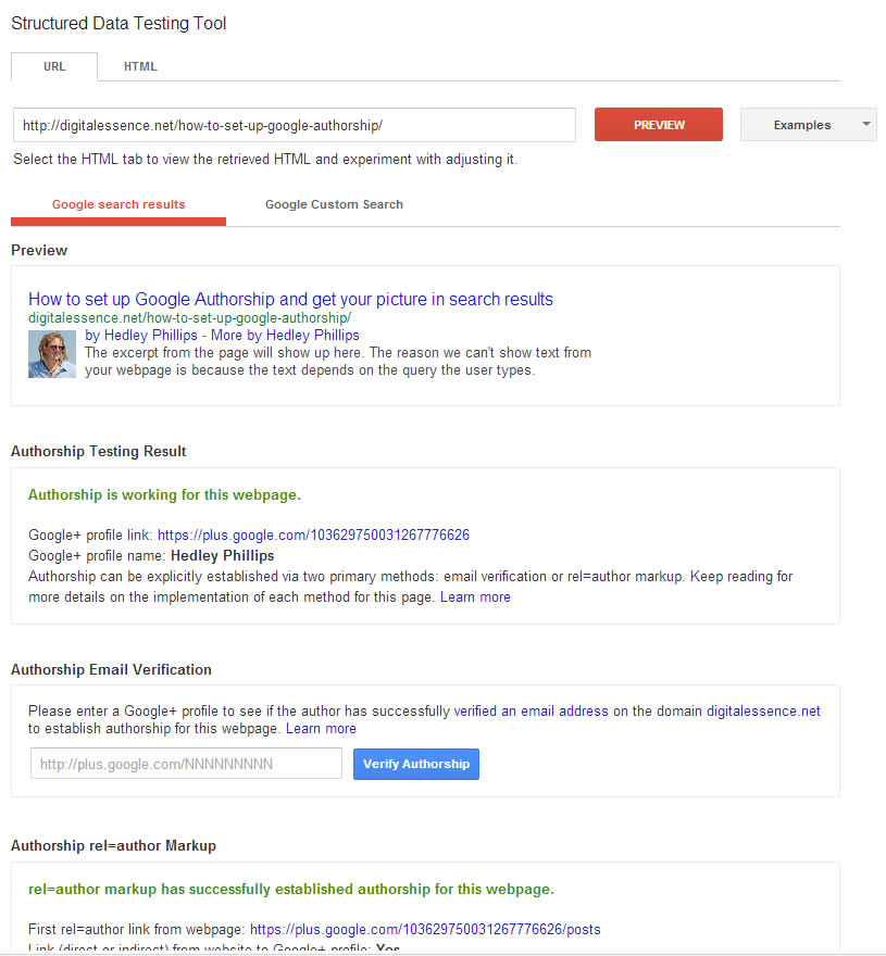 "How to test if you have set up Google Authorship and rel=""author"" correctly"