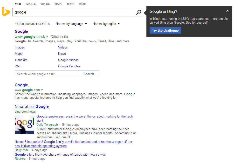 Bing resorts to cheap tricks when searching for Google