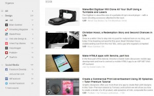 Feedley news aggregator used in conjunction with Buffer