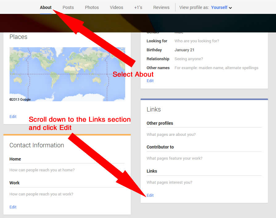 Adding a custom link in Google+ for Google Authorship