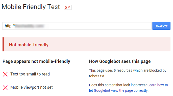 This is what you will see if your website fails the Google mobile-friendly test