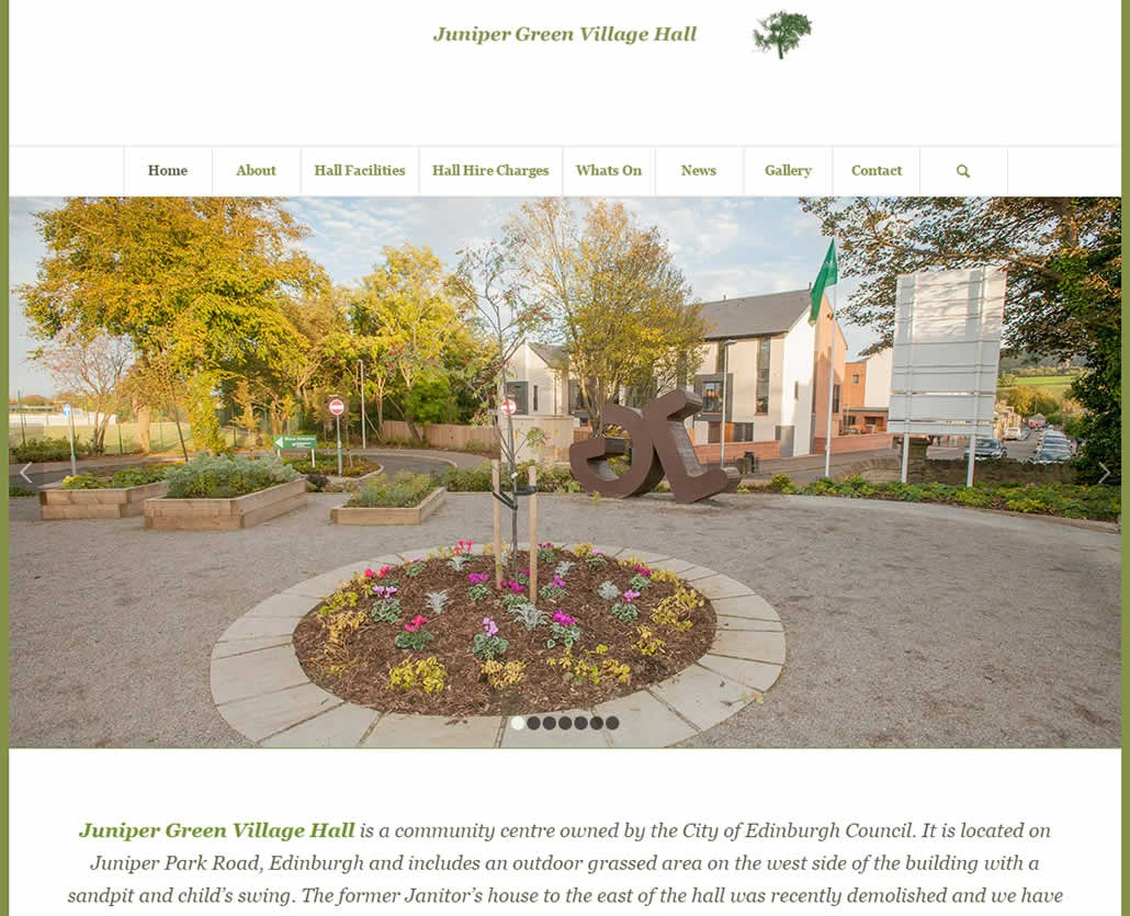 Juniper Green Village Hall Edinburgh web site design and hosting