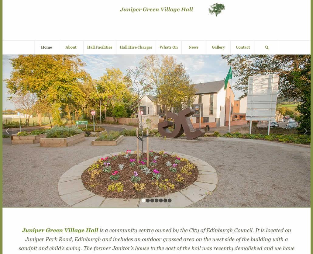 Juniper Green Village Hall Edinburgh web site design and hosting