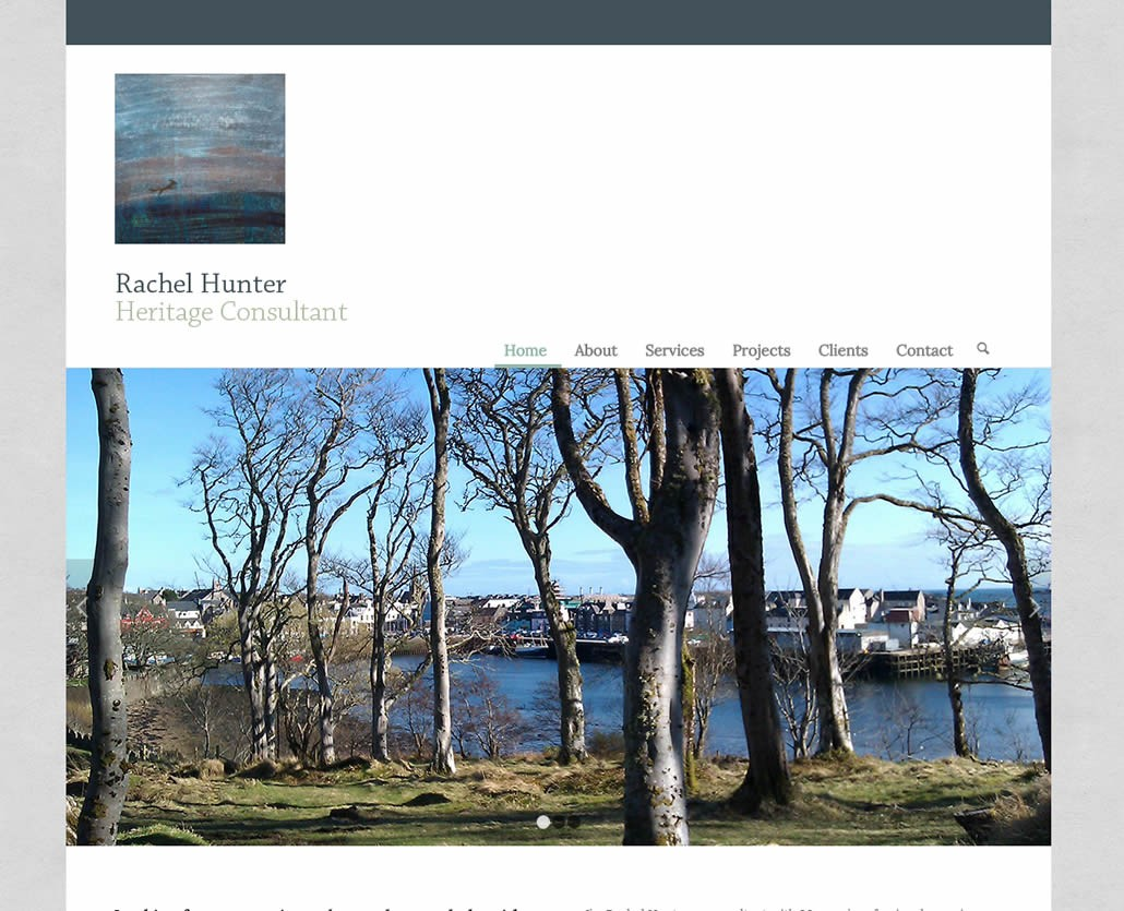 Rachel Hunter Heritage website design