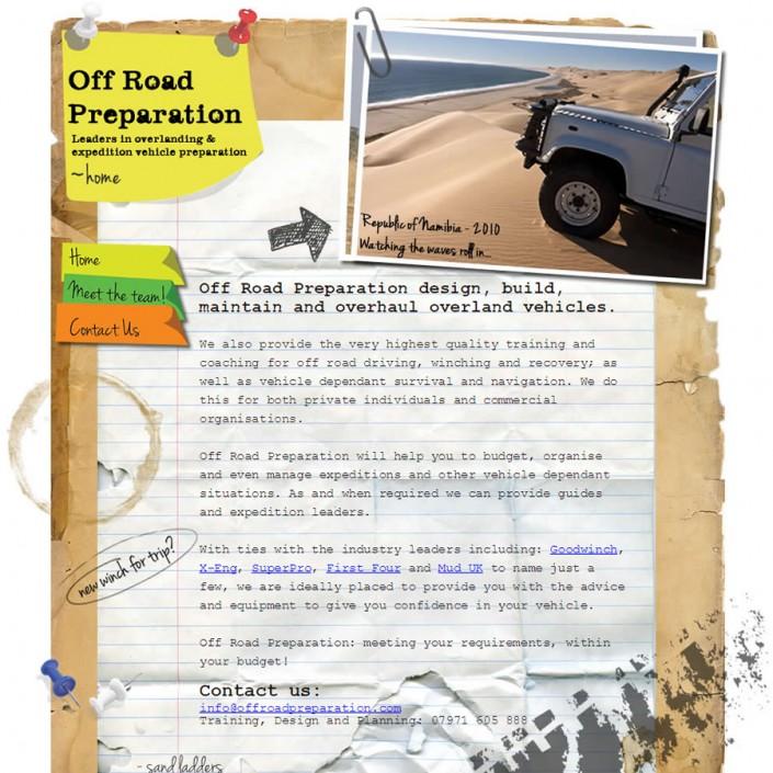 Web Site design for Off Road Preparation