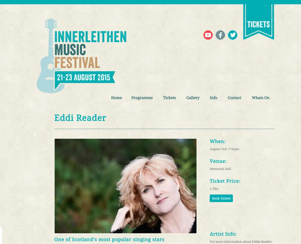 Innerleithen based Music Festival web site