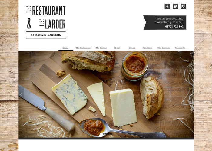 Web site design for Kailzie Gardens Restaurant & Larder