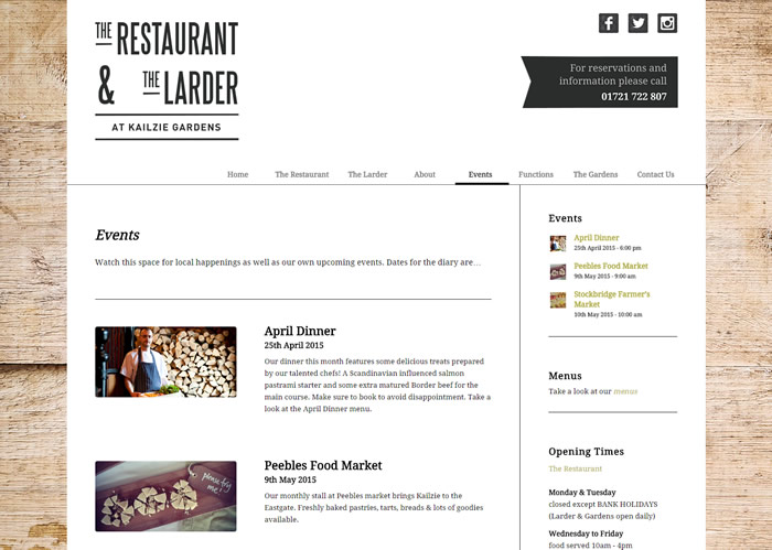 The Rrestaurant at Kailzie gardens website