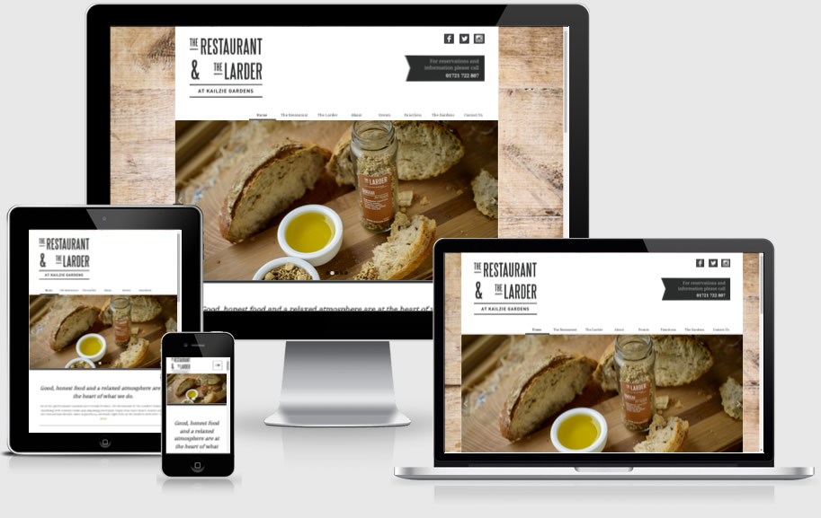 Peebles restaurant - Kailzie Gardens website design